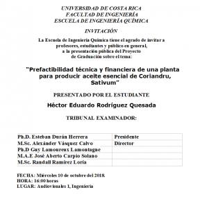 COMUNICADO: Presentación de tesis del estudiante Héctor Rodríguez Quesada