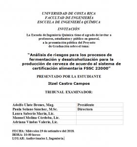 COMUNICADO: Presentación de tesis de la estudiante Itzel Castro