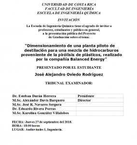 COMUNICADO: Presentación de tesis del estudiante José Alejandro Oviedo Rodríguez
