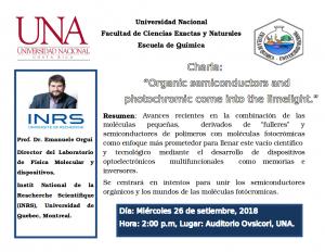 "Universidad Nacional invita a la charla: ""Organic semiconductors and photochromic come into the limelight."""