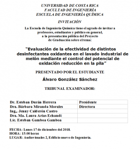 COMUNICADO: Presentación de tesis del estudiante Álvaro E. González Sánchez