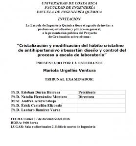 COMUNICADO: Presentación de tesis de la estudiante Mariola Urgellés Ventura
