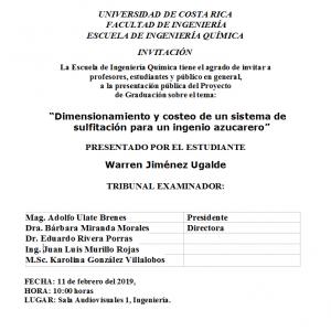 Comunicado: Presentación de tesis del estudiante Warren Jiménez Ugalde