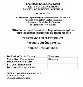 COMUNICADO: Presentación de tesis del estudiante Alejandro Jiménez Gómez