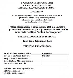 COMUNICADO: Presentación de tesis del estudiante José Luis Trigueros Soto
