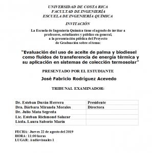 COMUNICADO: Presentación de tesis del estudiante José Fabricio Rodríguez Acevedo