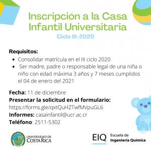 Casa Infantil Universitaria –  Periodo de inscripción al III ciclo 2020