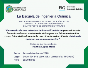 Invitación a la presentación pública del proyecto de graduación de Hania López Mena