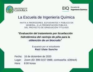 Invitación a la presentación pública del proyecto de graduación de Raúl Ulate Sancho