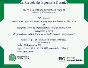 Invitación a la presentación pública del proyecto de graduación de Fernando Barboza Montenegro
