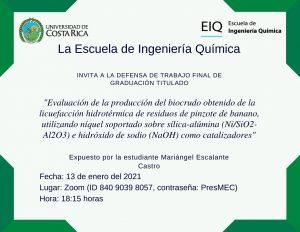 Invitación a la presentación pública del proyecto de graduación de Mariángel Escalante Castro