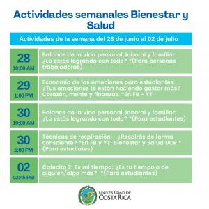 Agenda semanal Salud y Bienestar UCR
